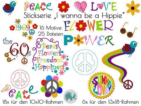 I wanna be a Hippie Stickserie Regenbogen Stickdatei  Peace Vogel Freiheit bei Makerist sofort runterladen