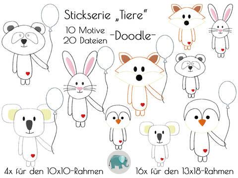 Doodle Tiere Ballon Appli Stickserie Stickdatei Stickmotiv Panda Fuchs Hase Koala Pinguin bei Makerist sofort runterladen