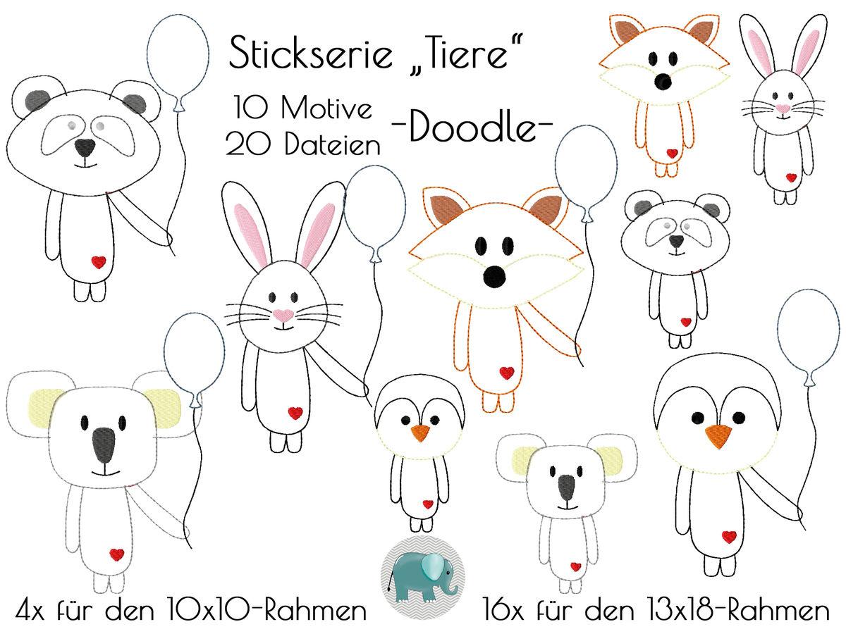 Doodle Tiere Ballon Appli Stickserie Stickdatei Stickmotiv Panda ...