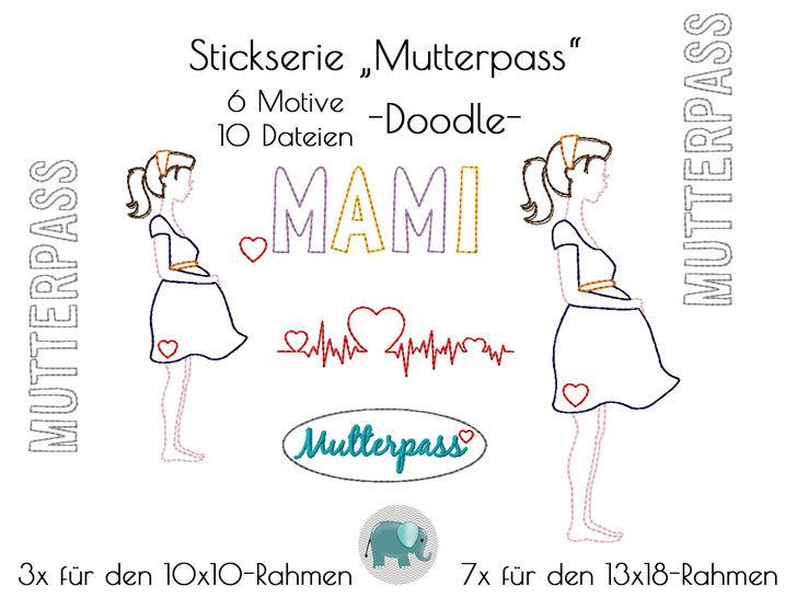 Mutterpass Schwanger Stickdatei Stickserie Stickmuster Doodle Mami Mama Baby bei Makerist sofort runterladen