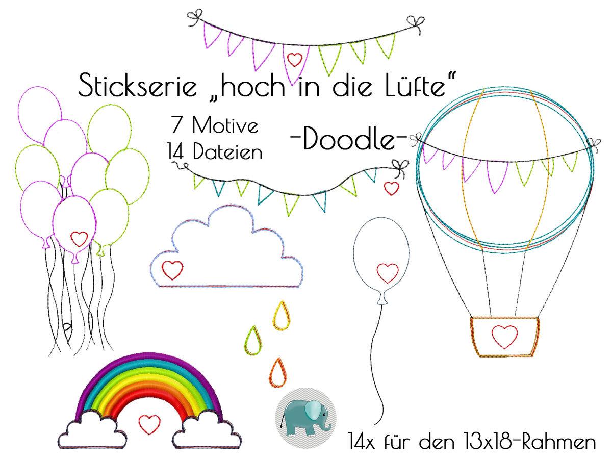 Hoch in die Lüfte Stickdatei Wimpel Ballon Heißluftballon Doodle ...