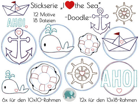 I love the sea maritim Stickdatei Anker Doodle Wal Steuerrad Rettungsring Meer See Wasser Boot bei Makerist sofort runterladen