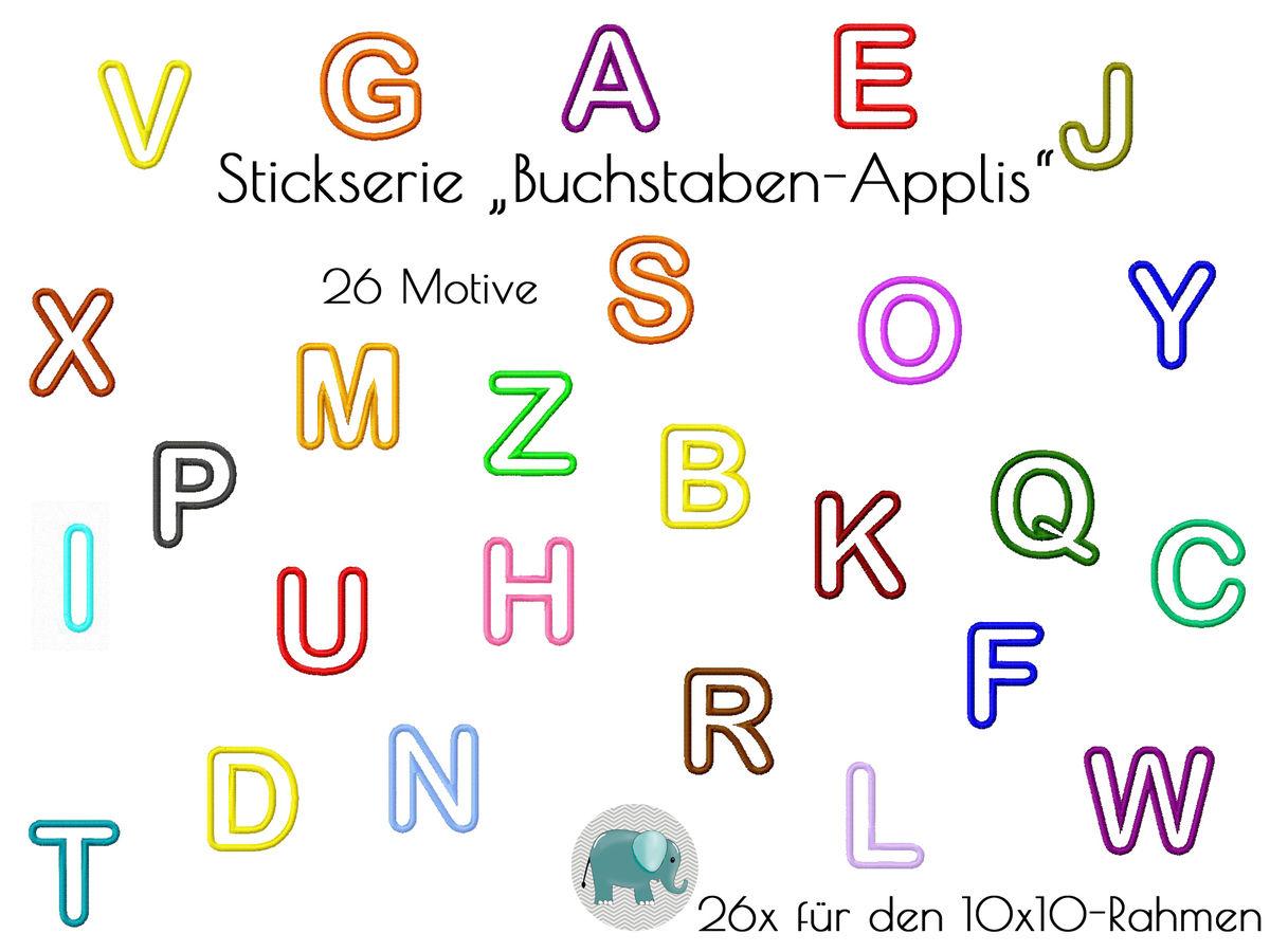 ABC Appli Stickdatei Buchstaben Alphabet Applikation ABC Schrift ...