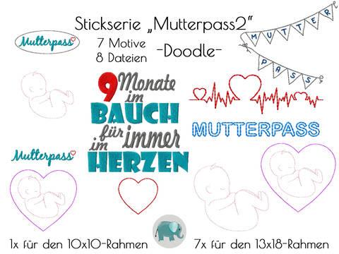MutterpassStickmotive Stickdatei Mutterpasshülle Schwanger Stickmuster Doodle Mami Mama Baby bei Makerist sofort runterladen