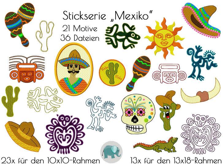 viva la Mexiko Maya Inka Kaktus Sombrero Stickdatei Stickserie Applikation Doodle Appli Rasseln native Art bei Makerist sofort runterladen