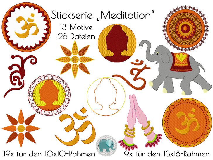 Meditation OM Yoga Mendhi Boho Buddha Hippie Indien Asien Elefant Stickdatei Stickserie Applikation Doodle Appli native Art bei Makerist sofort runterladen