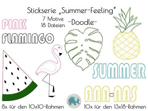 Summer Feeling Stickserie Ananas Flamingo Monstera Melone Schriftzug Hipster Stickdatei Doodle Applikation bei Makerist sofort runterladen