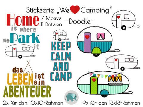We love Camping Stickserie Wohnwagen Wohnmobil Zelt zelten Camp Camper Schriftzug Spruch Stickdatei Doodle Applikation bei Makerist sofort runterladen