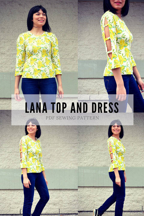 Download the Lana Top and Dress PDF sewing pattern and tutorial immediately at Makerist