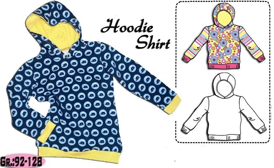 Schnittmuster & Nähanleitung einfaches Hoodie Shirt Gr.:92-128 - Nähanleitungen bei Makerist sofort runterladen