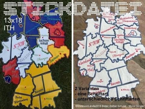 Deutschlandkarte 13x18 Puzzle Stickdatei bei Makerist sofort runterladen
