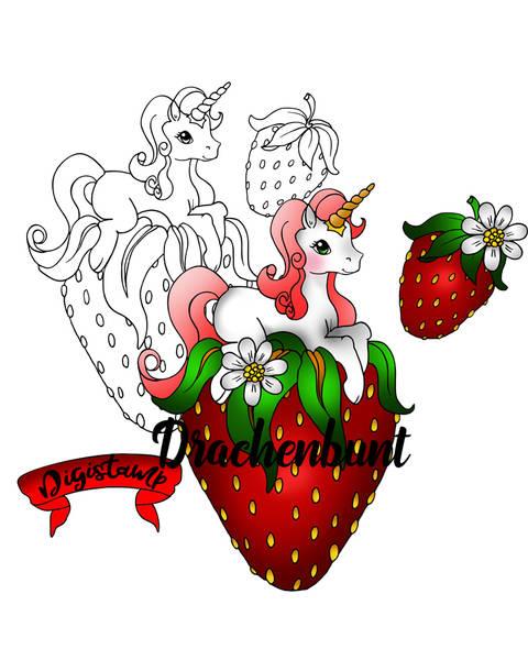 Digistamp Digitaler Stempel Printable Einhorn auf Erdbeere bei Makerist sofort runterladen