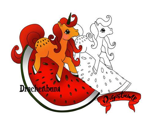 Digi Stamp Printables Melonen Einhorn und Pony / Pferd Sommer Frucht Obst bei Makerist sofort runterladen