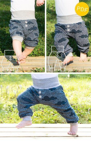 Download baggy baby pants and shorts - sewing pattern - baby toddler immediately at Makerist