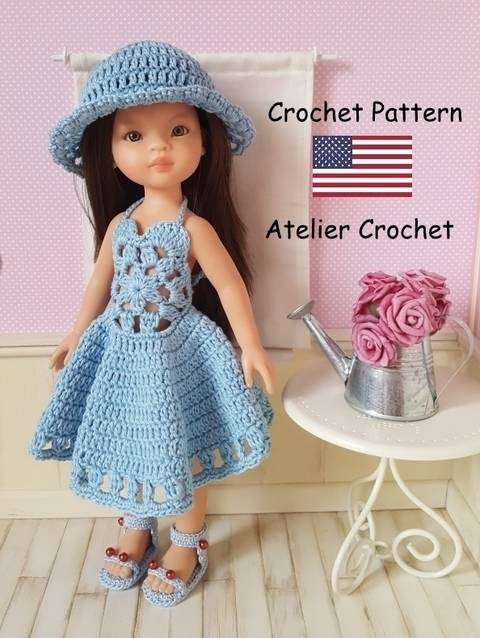 "Download ""Marjolaine"" crochet pattern for Paola Reina doll immediately at Makerist"