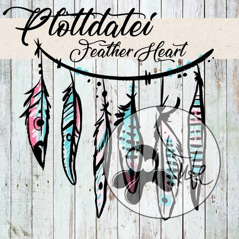"Plottdatei Tintenrebell ""Feather Heart"" bei Makerist sofort runterladen"