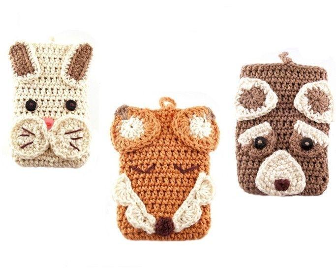 Häkelanleitung für 3 Smartphonetaschen Waldtiere - Häkelanleitungen bei Makerist sofort runterladen