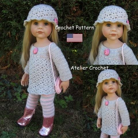 "Download ""Clarisse"" crochet pattern for Götz or American Girl Doll immediately at Makerist"