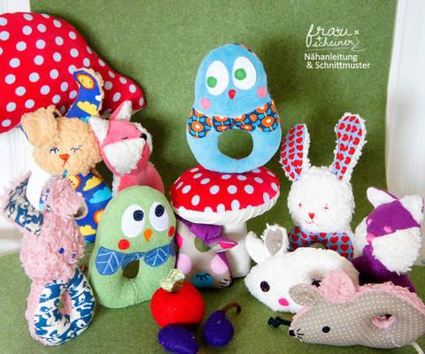 Baby Rassel 4 Designs Hase, Maus, Eule, Fuchs bei Makerist sofort runterladen