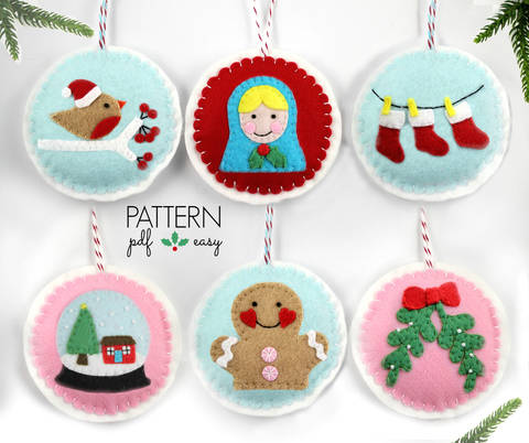 Download Christmas Ornament Pattern Set - 6 Designs immediately at Makerist
