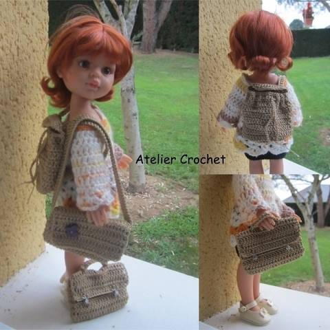 "Download ""Back to school"" crochet pattern for Paola Reina doll immediately at Makerist"