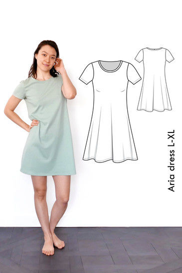 Download Aria Tshirt dress L-XL / US size 10-12 / UK 12-14 A4+ letter immediately at Makerist