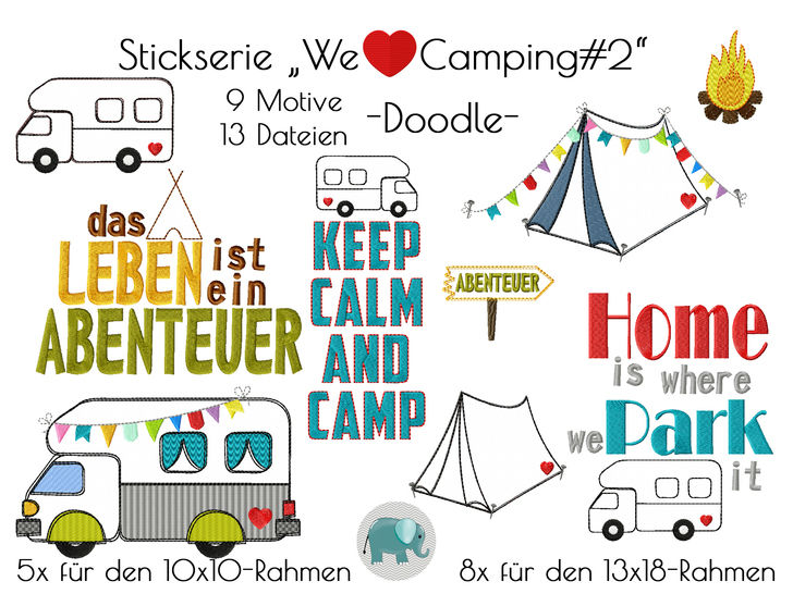 We love Camping2 Stickserie Wohnmobil Zelt Stickdatei Doodle bei Makerist sofort runterladen