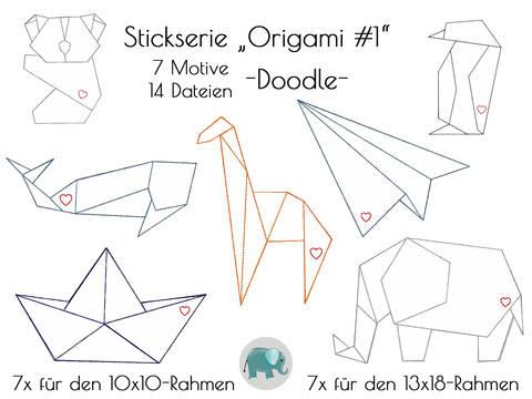 Origami Stickserie Doodle Appli Tiere Elefant Wal Boot Koala bei Makerist sofort runterladen