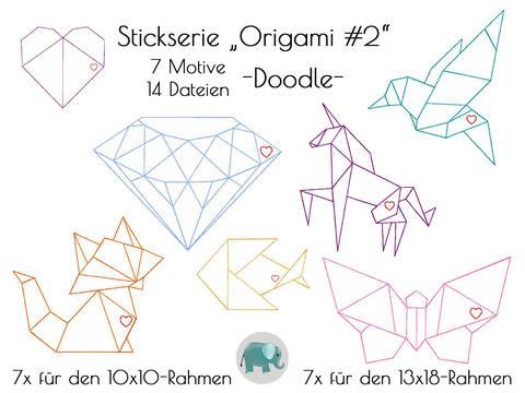 Origami Stickserie Doodle Appli Tiere Diamant Einhorn Fuchs bei Makerist sofort runterladen