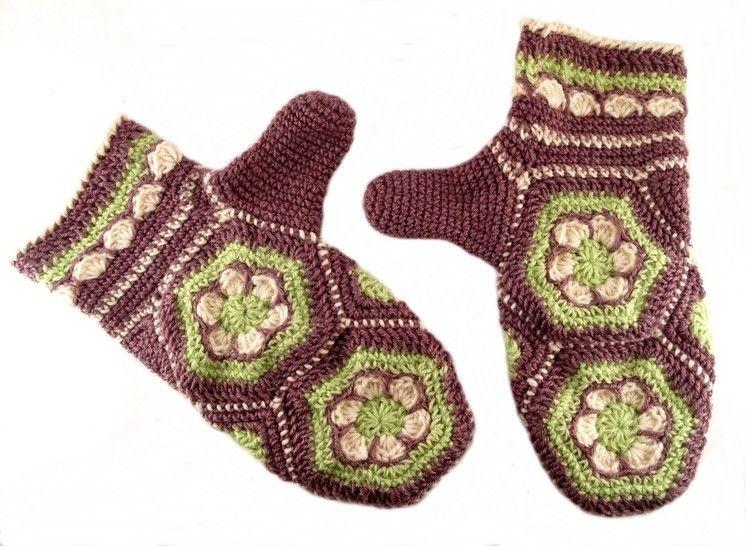 """Häkelanleitung Handschuhe """"Blumenwabe"""", Hexagon - Häkelanleitungen bei Makerist sofort runterladen"""