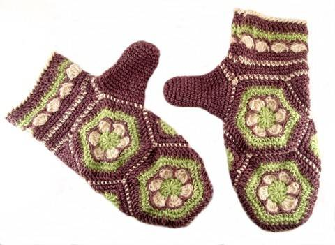 """Häkelanleitung Handschuhe """"Blumenwabe"""", Hexagon bei Makerist sofort runterladen"""