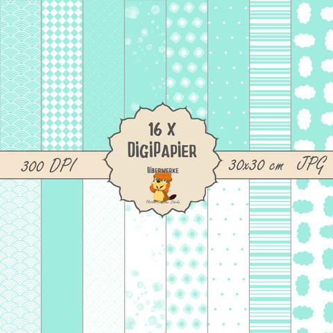 DigiPapier Pastell Türkis bei Makerist sofort runterladen
