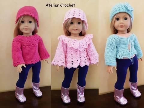 "Download ""Pullover and cardigans"" crochet pattern for American Girl immediately at Makerist"