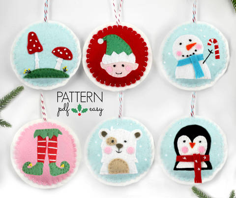 Download Felt Pattern Christmas Ornaments Pattern - Set of 6 immediately at Makerist