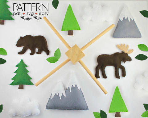 Download Woodland Baby Mobile Pattern - Moose Grizzly Bear immediately at Makerist
