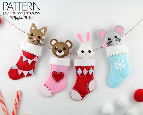 Download Christmas Stocking Ornament Pattern Felt Christmas Pattern immediately at Makerist