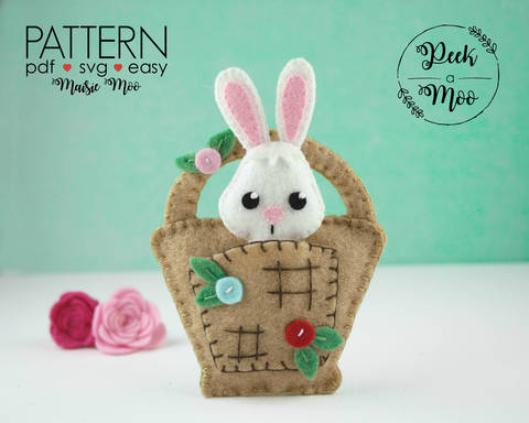 Download Felt Bunny in a Basket Pattern | Christmas Ornament immediately at Makerist