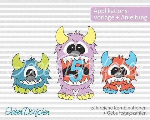 IdeenDörfchen - Applikationsvorlage Monster Erich bei Makerist sofort runterladen