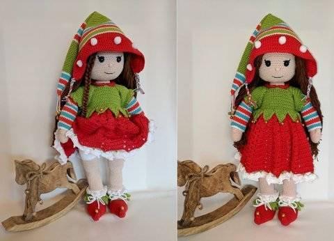 Amigurumi Puppe Mia im Weihnachts-Elfen Outfit bei Makerist sofort runterladen