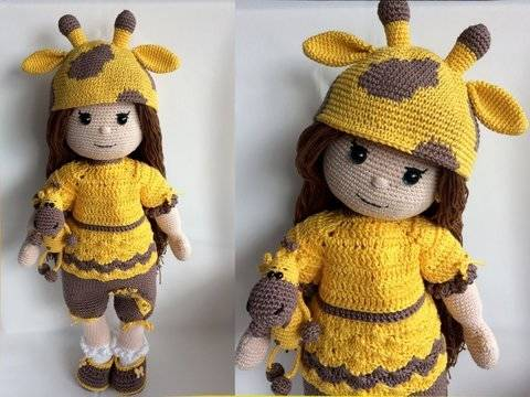 Amigurumi Puppe Mia im Giraffen Outfit & Mini Giraffe bei Makerist sofort runterladen