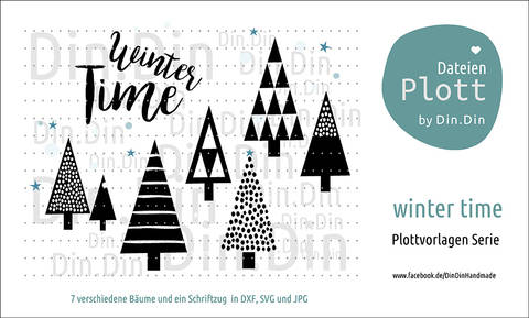 "Plottvorlage Plotterdatei ""Winter Time"" bei Makerist sofort runterladen"