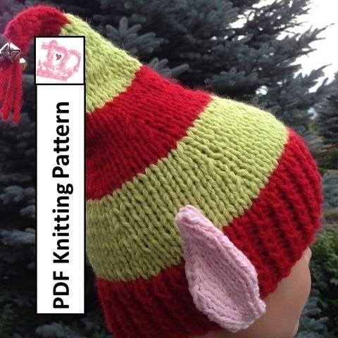 Download Elf Ears Jingle Bells Hat knitting pattern immediately at Makerist