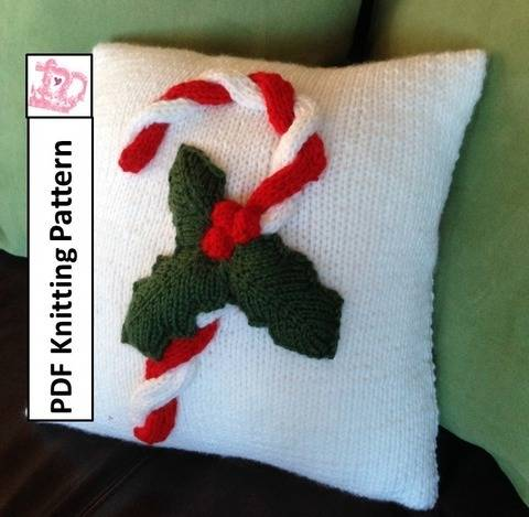 Download Christmas Candy Cane Pillow Cover knitting pattern pdf immediately at Makerist