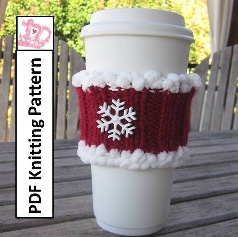Download Christmas coffee cozy - PDF Knitting Pattern immediately at Makerist