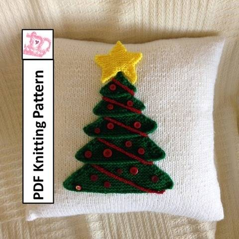 Download Christmas Tree pillow cover knitting pattern pdf immediately at Makerist
