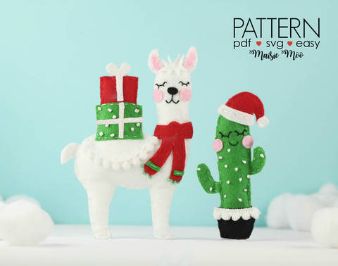Download Llama Christmas Ornament Pattern | Felt Llama Pattern immediately at Makerist