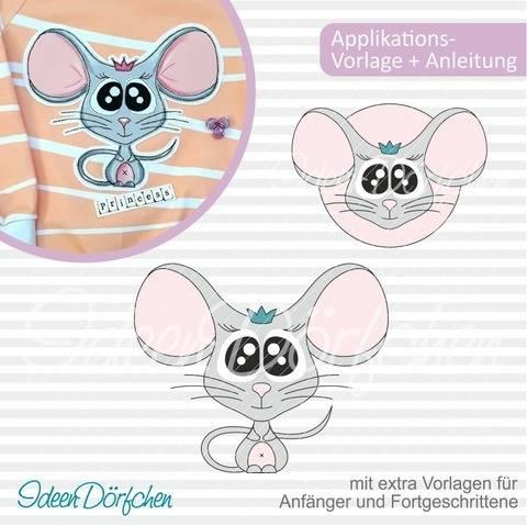 IdeenDörfchen - Applikationsvorlage Maus Rosalie GROSS bei Makerist sofort runterladen
