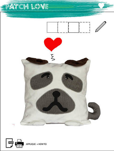 Download Pillow Toy Dog Pattern PDF Sewing Tutorial Baby Animal immediately at Makerist