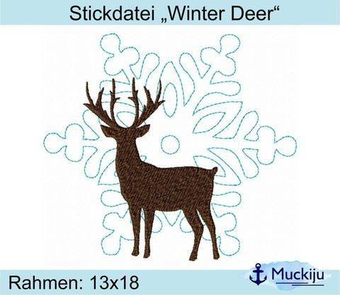 "Stickdatei ""Winter Deer"" 13x18 bei Makerist sofort runterladen"