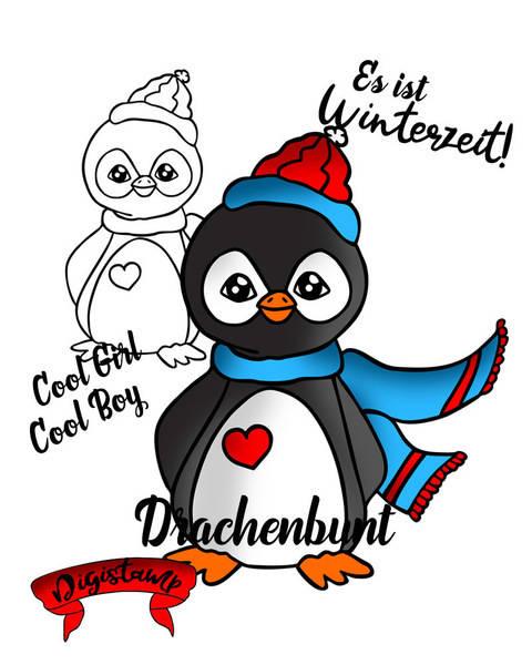 Digi Stamp Printable Pinguin Winter Weihnacht unisex bei Makerist sofort runterladen